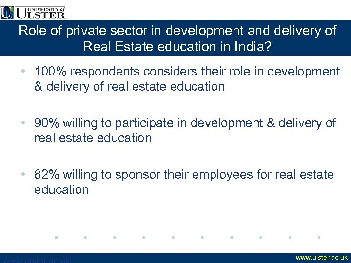 Role of private sector in development and delivery of Real Estate education in India?