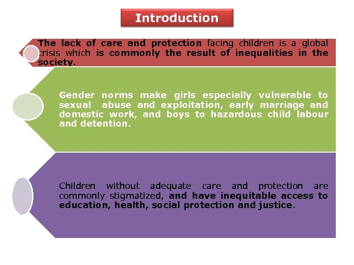 Introduction The lack of care and protection facing children is a global crisis which
