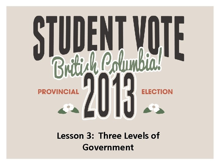 Lesson 3: Three Levels of Government