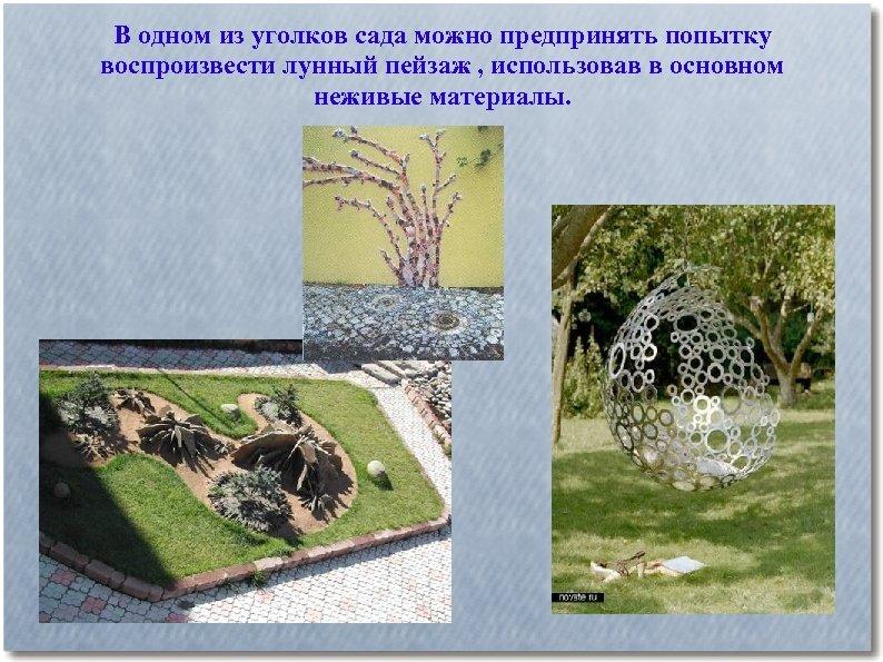 В одном из уголков сада можно предпринять попытку воспроизвести лунный пейзаж , использовав в