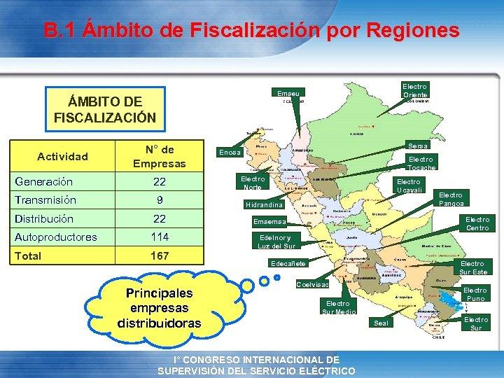 B. 1 Ámbito de Fiscalización por Regiones ÁMBITO DE FISCALIZACIÓN Actividad Electro Oriente Emseu