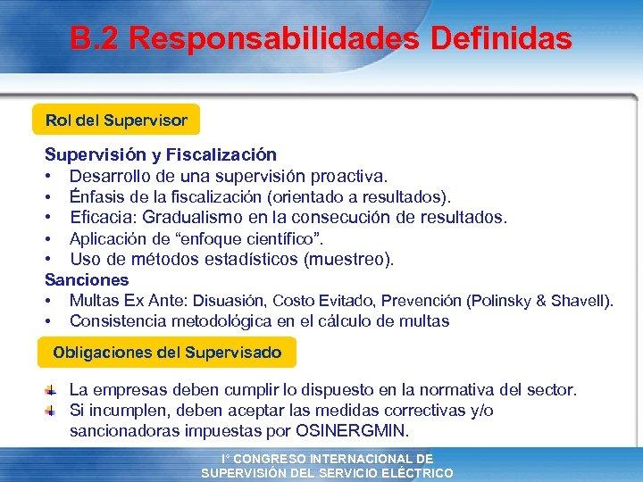 B. 2 Responsabilidades Definidas Rol del Supervisor Supervisión y Fiscalización • Desarrollo de una