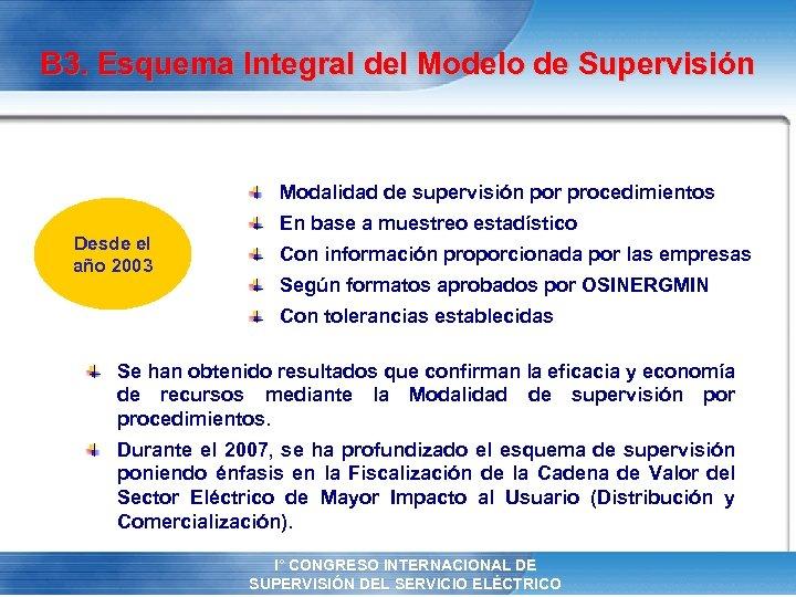 B 3. Esquema Integral del Modelo de Supervisión Modalidad de supervisión por procedimientos Desde