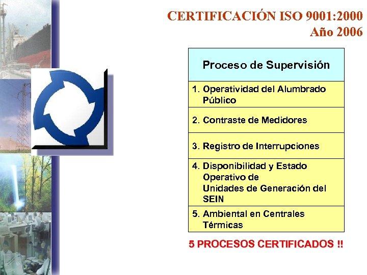 CERTIFICACIÓN ISO 9001: 2000 Año 2006 Proceso de Supervisión 1. Operatividad del Alumbrado Público