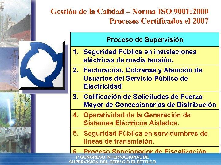Gestión de la Calidad – Norma ISO 9001: 2000 Procesos Certificados el 2007 Proceso