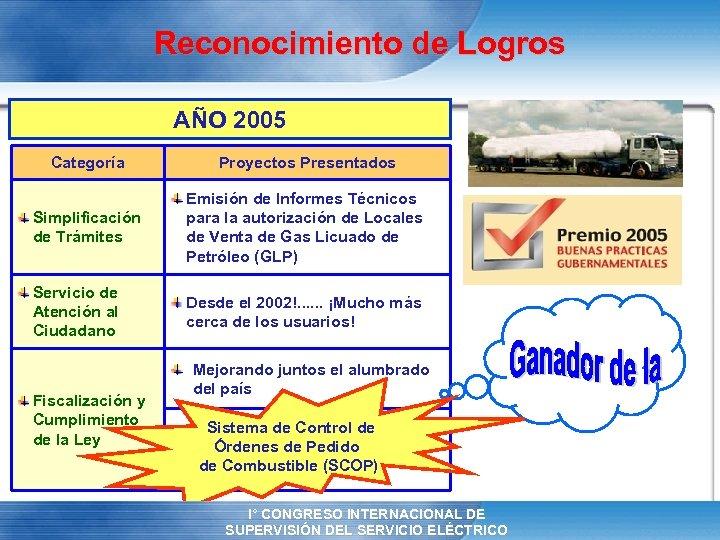 Reconocimiento de Logros AÑO 2005 Categoría Proyectos Presentados Simplificación de Trámites Emisión de Informes