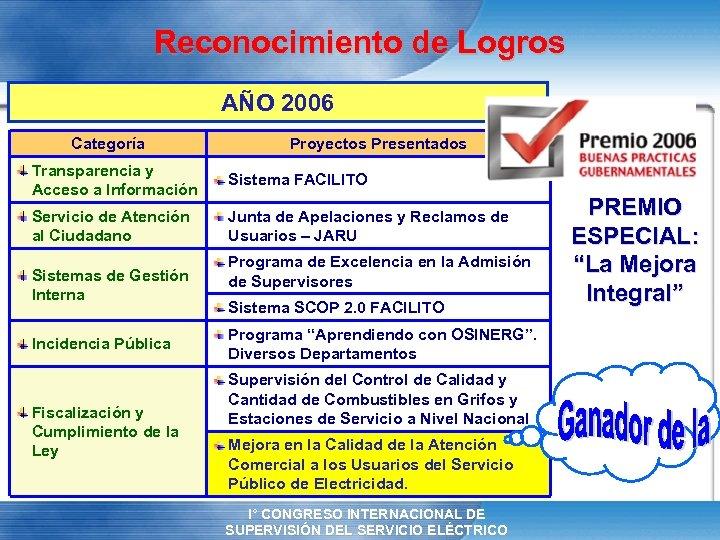 Reconocimiento de Logros AÑO 2006 Categoría Proyectos Presentados Transparencia y Acceso a Información Sistema