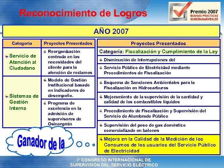 Reconocimiento de Logros AÑO 2007 Categoría Servicio de Atención al Ciudadano Sistemas de Gestión