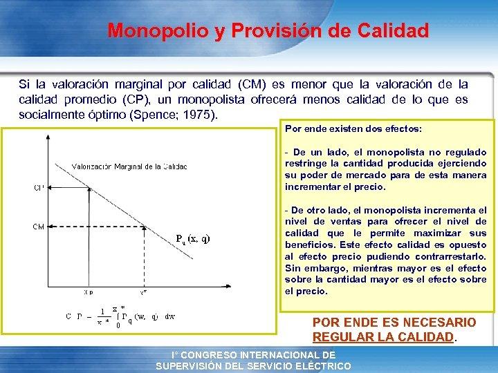 Monopolio y Provisión de Calidad Si la valoración marginal por calidad (CM) es menor