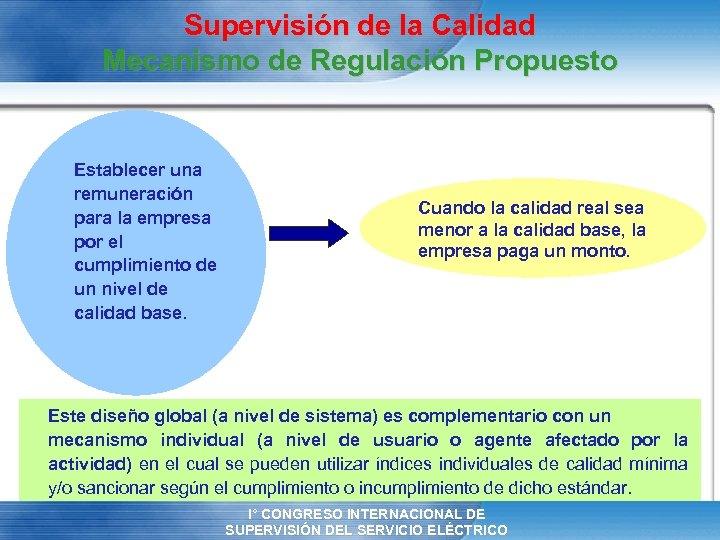 Supervisión de la Calidad Mecanismo de Regulación Propuesto Establecer una remuneración para la empresa