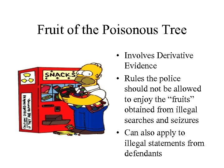 Fruit of the Poisonous Tree • Involves Derivative Evidence • Rules the police should