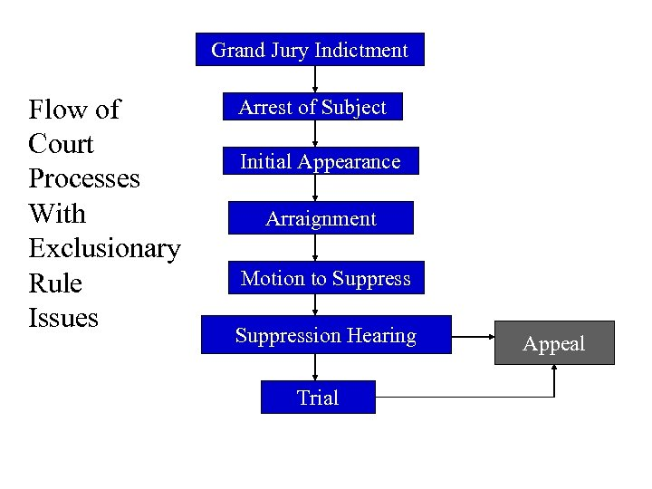 Grand Jury Indictment Flow of Court Processes With Exclusionary Rule Issues Arrest of Subject
