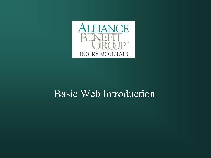 Basic Web Introduction