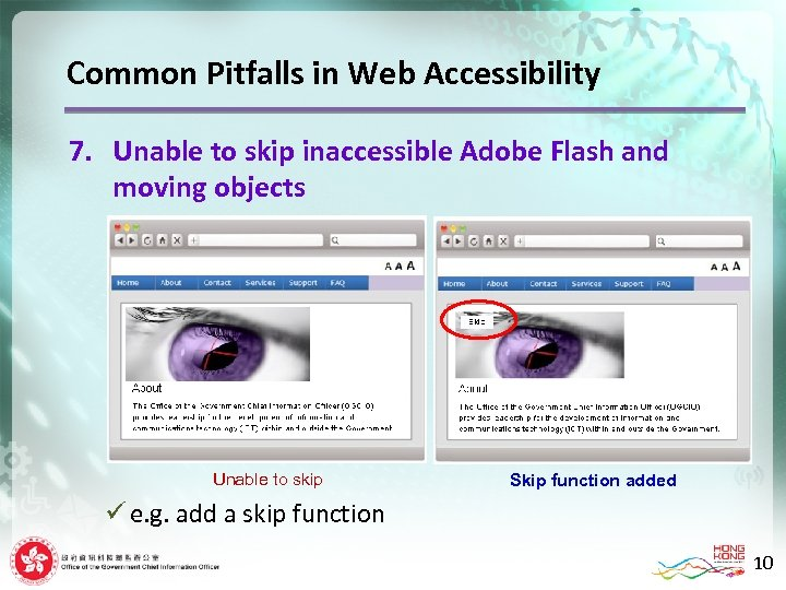 Common Pitfalls in Web Accessibility 7. Unable to skip inaccessible Adobe Flash and moving