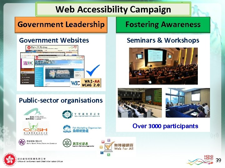 Web Accessibility Campaign Government Leadership Government Leaders Government Websites Fostering Awareness Seminars & Workshops
