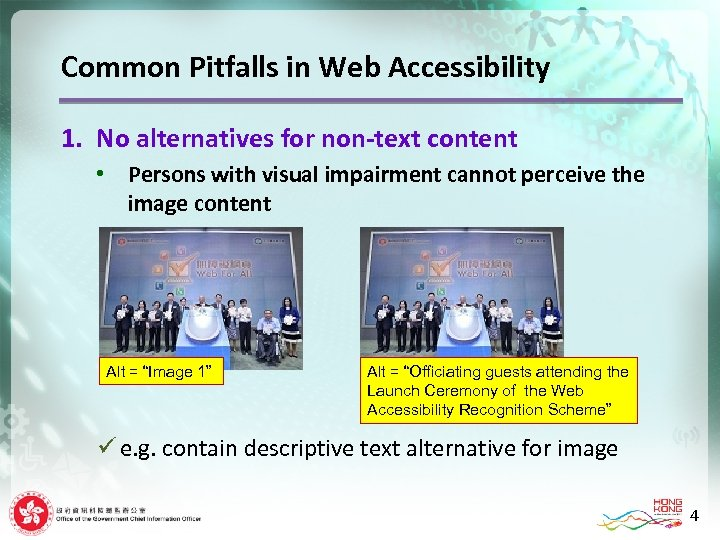 Common Pitfalls in Web Accessibility 1. No alternatives for non-text content • Persons with