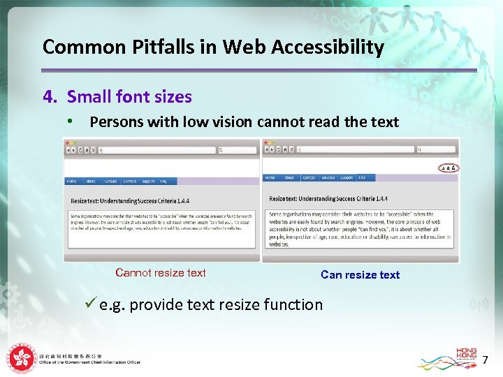 Common Pitfalls in Web Accessibility 4. Small font sizes • Persons with low vision