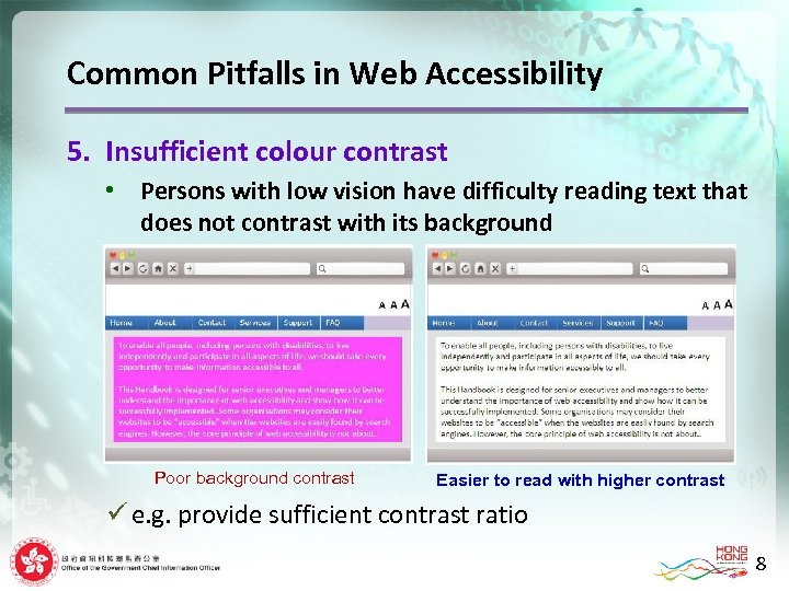 Common Pitfalls in Web Accessibility 5. Insufficient colour contrast • Persons with low vision