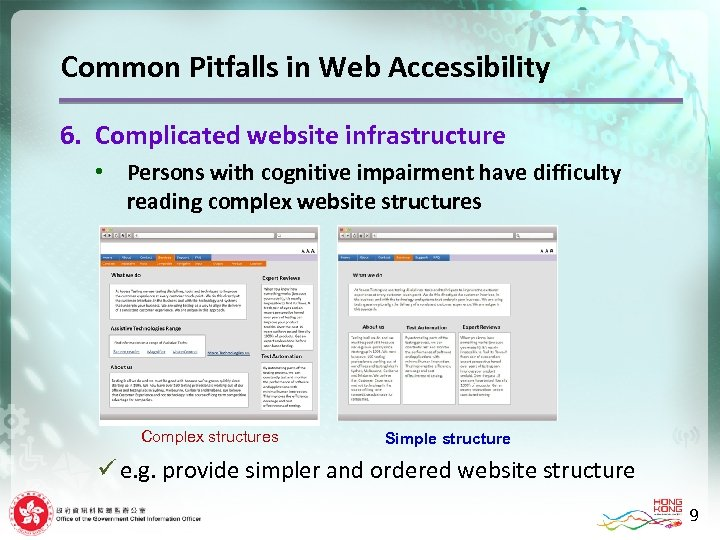 Common Pitfalls in Web Accessibility 6. Complicated website infrastructure • Persons with cognitive impairment