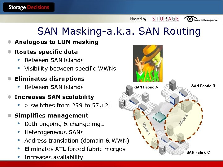 SAN Masking-a. k. a. SAN Routing l Analogous to LUN masking l Routes specific