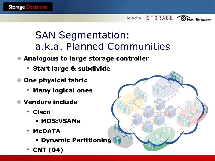 SAN Segmentation: a. k. a. Planned Communities l Analogous to large storage controller •
