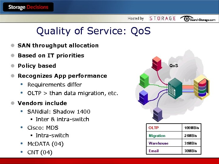 Quality of Service: Qo. S l SAN throughput allocation l Based on IT priorities