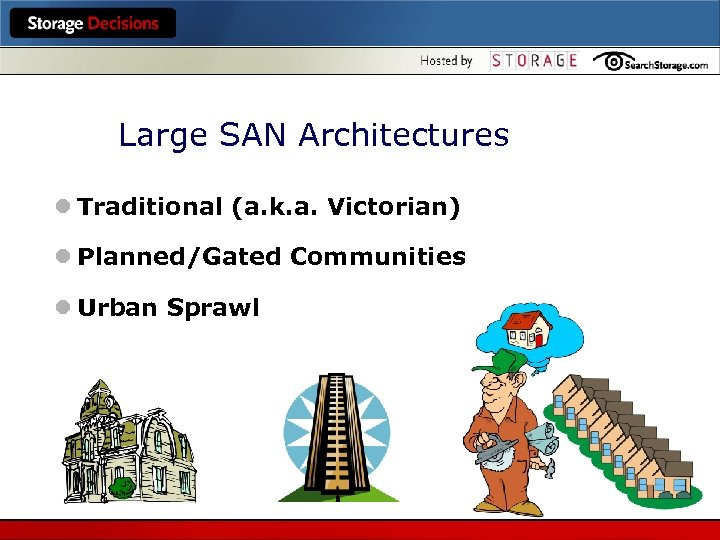 Large SAN Architectures l Traditional (a. k. a. Victorian) l Planned/Gated Communities l Urban