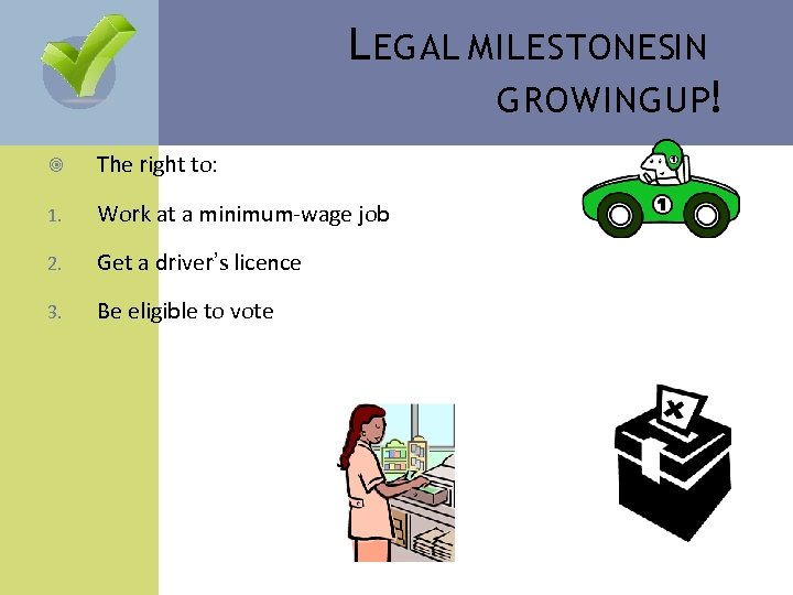 L EGAL MILESTONESIN GROWING UP! The right to: 1. Work at a minimum-wage job