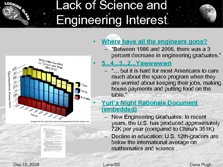 Lack of Science and Engineering Interest • Where have all the engineers gone? –