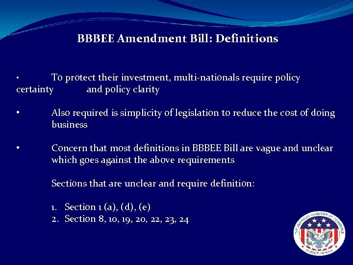 BBBEE Amendment Bill: Definitions To protect their investment, multi-nationals require policy certainty and policy