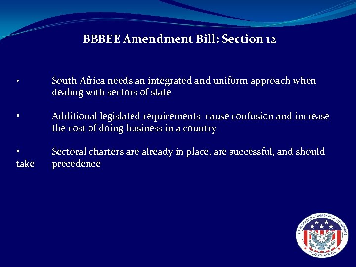 BBBEE Amendment Bill: Section 12 • • • take South Africa needs an integrated