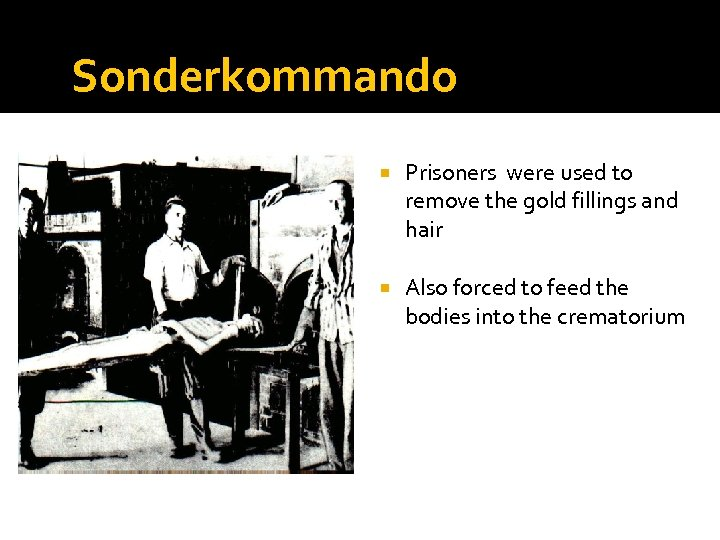 Sonderkommando Prisoners were used to remove the gold fillings and hair Also forced to