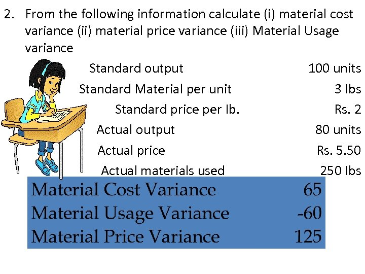 2. From the following information calculate (i) material cost variance (ii) material price variance