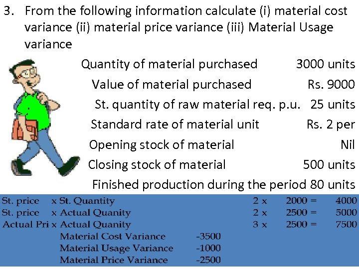 3. From the following information calculate (i) material cost variance (ii) material price variance