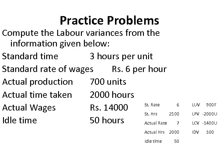 Practice Problems Compute the Labour variances from the information given below: Standard time 3