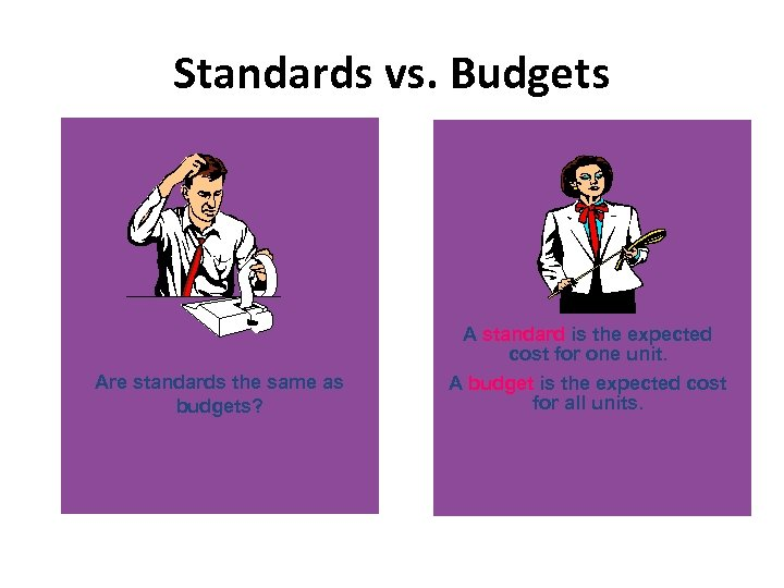 Standards vs. Budgets Are standards the same as budgets? A standard is the expected
