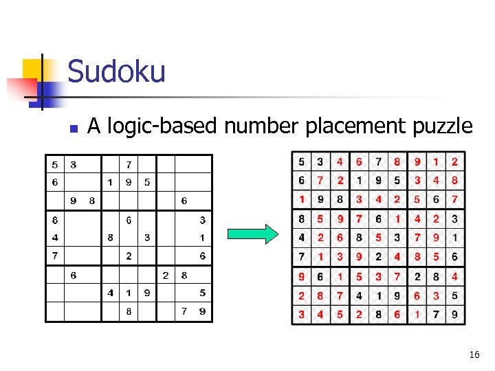 Sudoku n A logic-based number placement puzzle 16