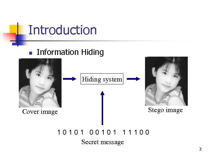Introduction n Information Hiding system Cover image Stego image 10101 00101 11100 Secret message