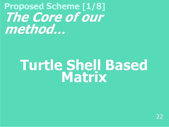 Proposed Scheme [1/8] The Core of our method… Turtle Shell Based Matrix 22