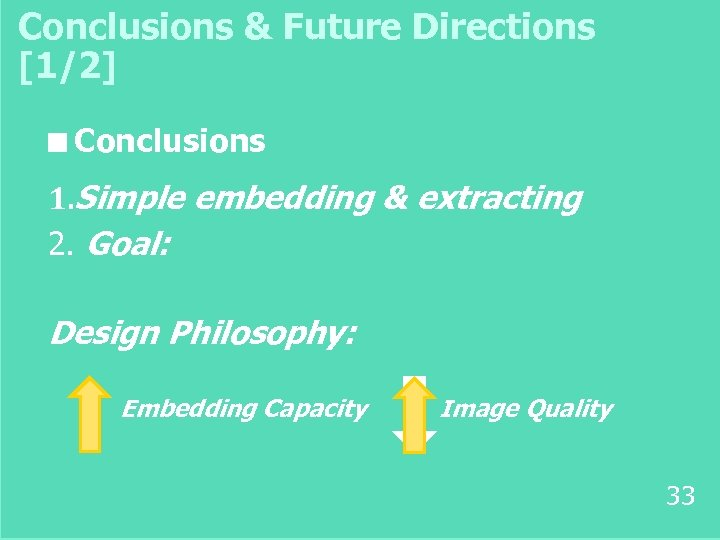 Conclusions & Future Directions [1/2] ■ Conclusions 1. Simple embedding & extracting 2. Goal: