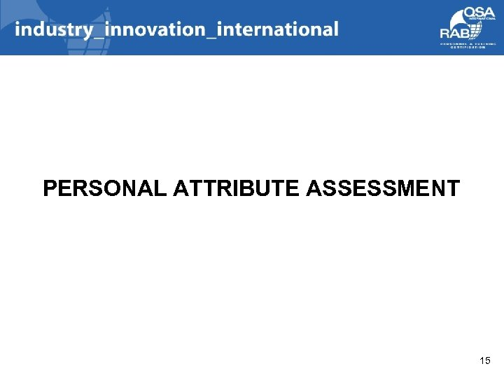 PERSONAL ATTRIBUTE ASSESSMENT 15