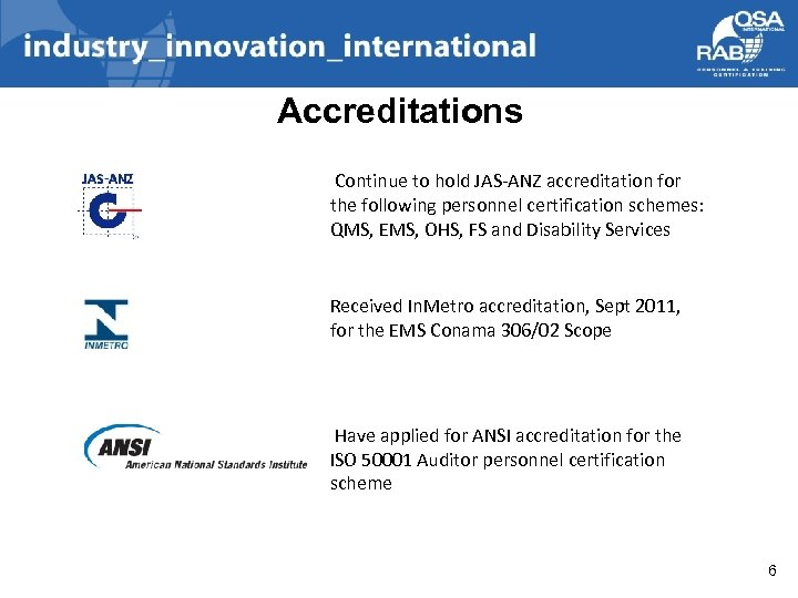 Accreditations Continue to hold JAS-ANZ accreditation for the following personnel certification schemes: QMS, EMS,