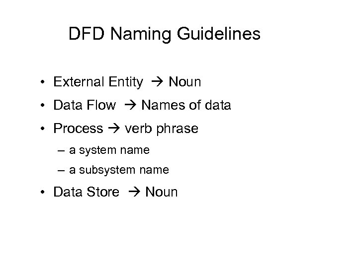 DFD Naming Guidelines • External Entity Noun • Data Flow Names of data •