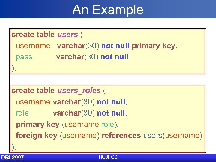 An Example create table users ( username varchar(30) not null primary key, pass varchar(30)