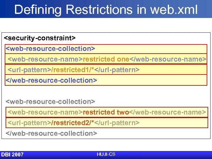 Defining Restrictions in web. xml <security-constraint> <web-resource-collection> <web-resource-name>restricted one</web-resource-name> <url-pattern>/restricted 1/*</url-pattern> </web-resource-collection> <web-resource-collection> <web-resource-name>restricted