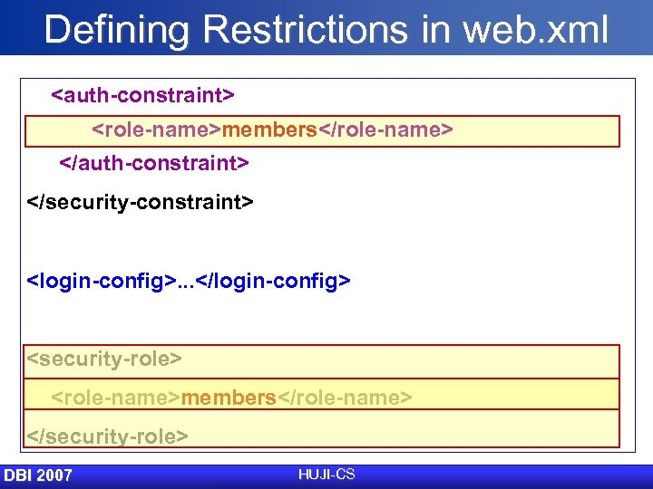 Defining Restrictions in web. xml <auth-constraint> <role-name>members</role-name> </auth-constraint> </security-constraint> <login-config>. . . </login-config> <security-role>