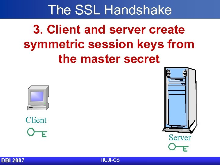 The SSL Handshake 3. Client and server create symmetric session keys from the master