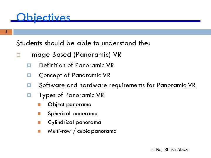 Objectives 3 Students should be able to understand the: Image Based (Panoramic) VR Definition