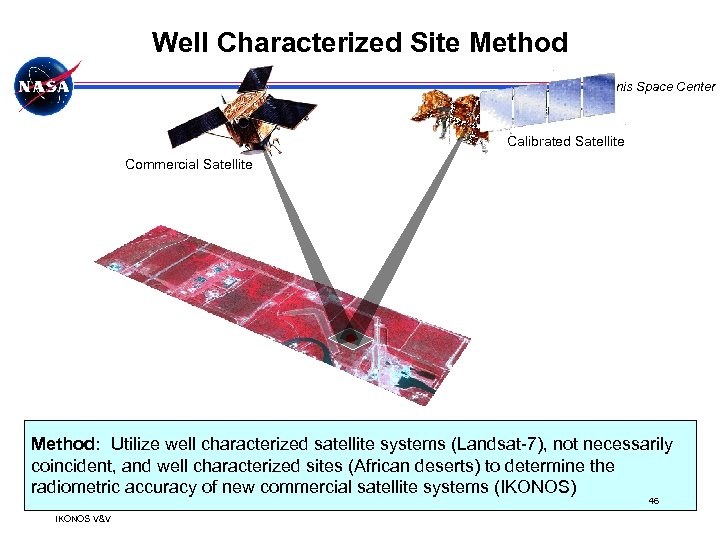 Well Characterized Site Method Stennis Space Center Calibrated Satellite Commercial Satellite Method: Utilize well