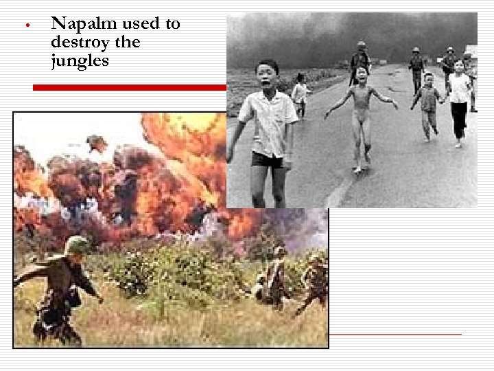 • Napalm used to destroy the jungles